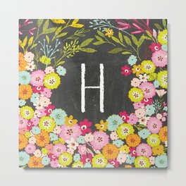 H botanical monogram. Letter initial with colorful flowers on a chalkboard background Metal Print