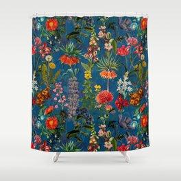 Vintage & Shabby Chic - Blue Midnight Spring Botancial Flower Garden Shower Curtain