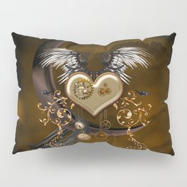 Steampunk heart with wings and butterflies Pillow Sham