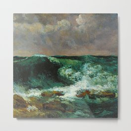 """Gustave Courbet """"The Wave 1870 private"""" Metal Print"""