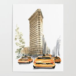 Architecture sketch of the Flatiron building in New york Poster