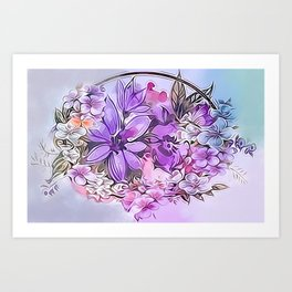 Painterly Violet Floral Abstract Art Print