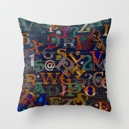 Vintage Alphabet Throw Pillow