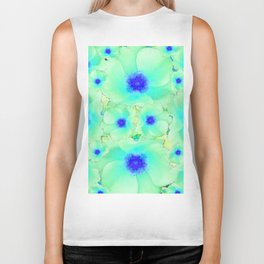 Celadon Jade Green-Blue Color Flower Pattern Biker Tank