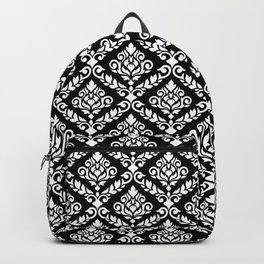 Prima Damask Pattern White on Black Backpack