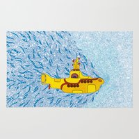 yellow submarine Area & Throw Rugs featuring My Yellow Submarine by Cris Couto