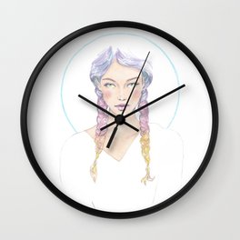 Sketchy girl with colorful pastel hairs Wall Clock