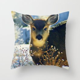 Blue Baby Deer in Winter Light by CheyAnne Sexton Throw Pillow