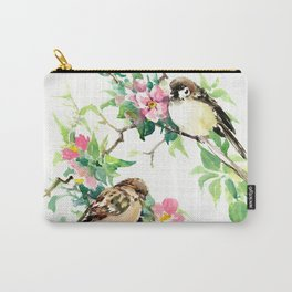 Sparrows and Apple Blossom, spring floral bird art Carry-All Pouch