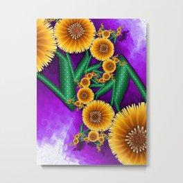 Golden Autumn Flowers Metal Print