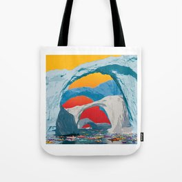 Kayak Race Through Ice Arches Tote Bag