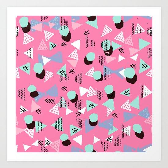 Painted minimal bright nursery pattern polka dots pattern Art Print