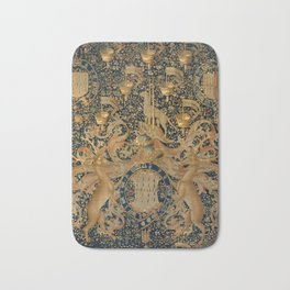 Vintage Golden Deer and Royal Crest Design (1501) Bath Mat