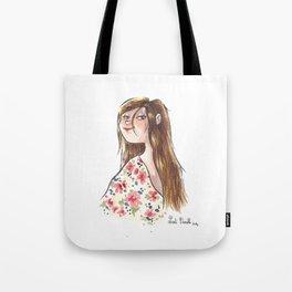 Jeune fille à fleurs Tote Bag