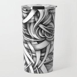 Escher Like Abstract Hand Drawn Graphite Gray Depth Travel Mug
