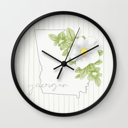 Georgia Cherokee Rose Wall Clock