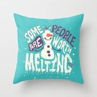 risa rodil Throw Pillows featuring Worth melting for by Risa Rodil