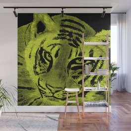 Tiger with Lime Background Wall Mural
