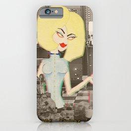 Atomic Age Blonde Scientist Babe. Retro Collage iPhone Case