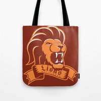 gryffindor Tote Bags featuring Lions Gryffindor by Fresco Umbiatore