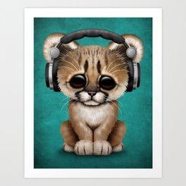 Cute Cougar Cub Dj Wearing Headphones on Blue Art Print