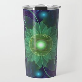 Glowing Blue-Green Fractal Lotus Lily Pad Pond Travel Mug