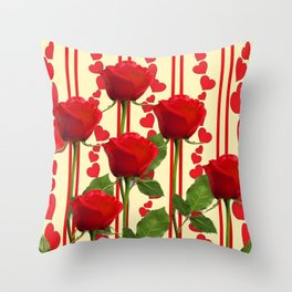 YELLOW SCARLET ROSES & RED VALENTINE HEARTS Throw Pillow