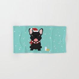 French Bulldog Waiting for Santa - Black / Brindle Edition Hand & Bath Towel