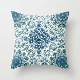 Creamy and blue mandala pattern#4 Throw Pillow