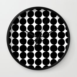 Midcentury Modern Dots Black and White Wall Clock