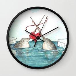 Knitting Narwhals Wall Clock