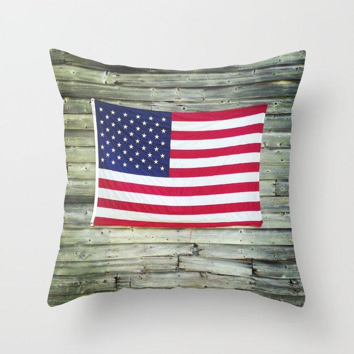 Upstate American Flag Throw Pillow