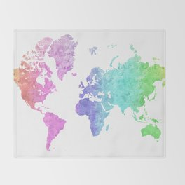 """Rainbow world map in watercolor style """"Jude"""" Throw Blanket"""