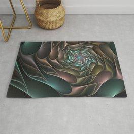Metallic Spiral 2, Modern Abstract Fractal Art Rug