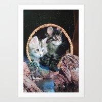kitty Art Prints featuring Kitty by John Turck