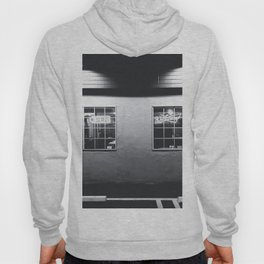 windows of the bar and restaurant in Los Angeles, USA in black and white Hoody
