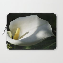 White Calla Lilies Over Black Background In Soft Focus Laptop Sleeve