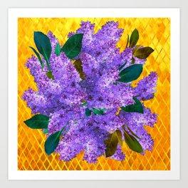 Spring Lilac Floral Bouquet Gold Patterns Art Print