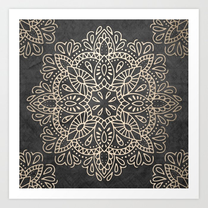 Mandala White Gold on Dark Gray Kunstdrucke