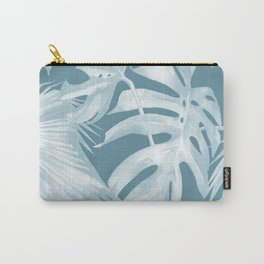 Teal Blue Tropical Palm Leaves Carry-All Pouch