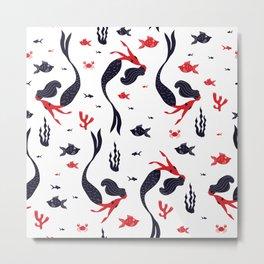 mermaid ,Swim ,Beautiful, Imagination, Drawn, Sealife ,thology ,Creature ,Acuatic Metal Print