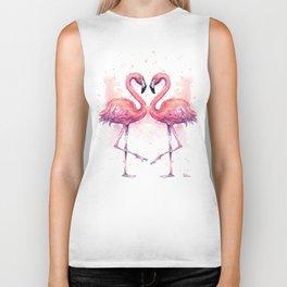 Flamingo Watercolor Two Flamingos in Love Biker Tank