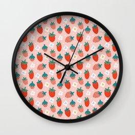 Strawberries Pattern Wall Clock