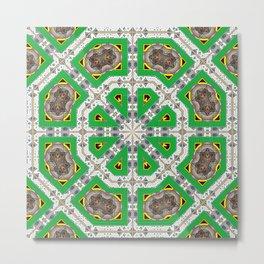Green Octagons Metal Print