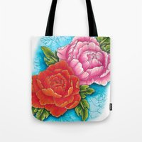 peonies Tote Bags featuring peonies by missfortunetattoo