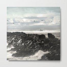 Pelicans Ocean Fishing Oregon Coast Landscape Metal Print