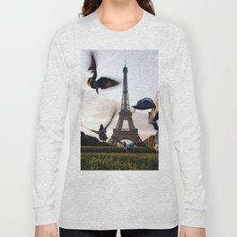 Paris Eiffel tower and flight of birds Long Sleeve T-shirt