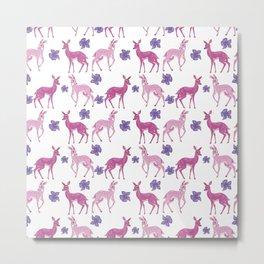 Pink Deer Pattern | Lesbian Pride Flag Metal Print