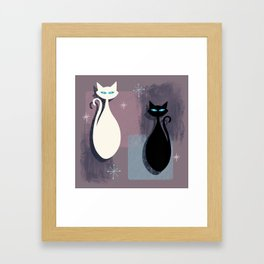 Jazzy Midcentury Modern Black And White Abstract Cats Framed Art Print