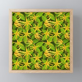 Ylang Ylang Exotic Scented Flowers and Leaves Pattern Framed Mini Art Print